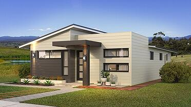 The Adair with Parapet Facade Home Design with Front Garden and a Walkway | Transportable Homes Perth
