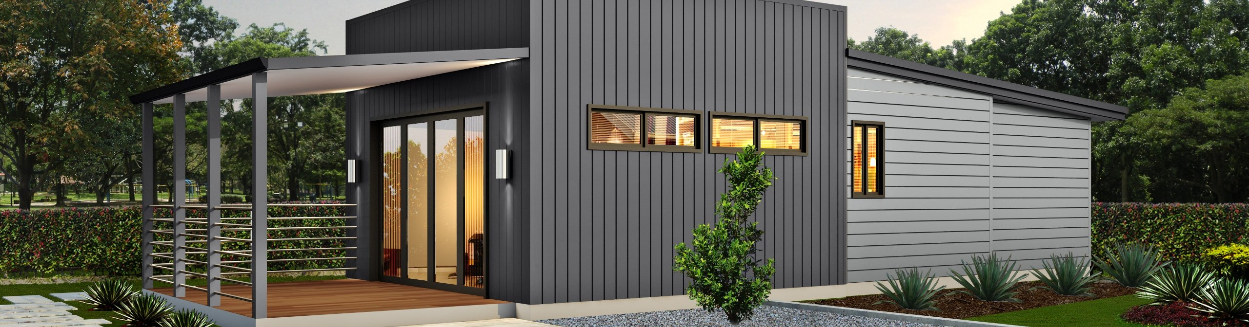 Evoke the salt box modern style home with black exterior and front verandah | Modular Homes Perth