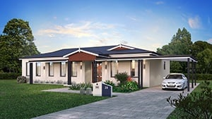 The Preston Home Design with Carport in the Driveway and Front Yard | Modular Homes Perth WA
