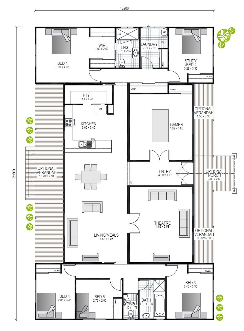 The Four Winds Blueprint and Floor plan | Transportable Homes WA