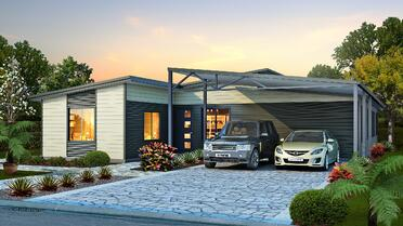 The Karana House Design with two cars parked in the driveway under the carport | Modular Homes Perth