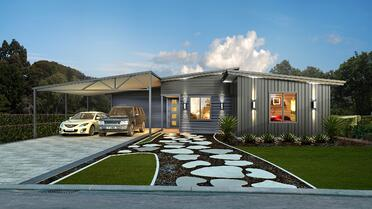 The Northwood House Design with a driveway and double spaced carport for cars and a walkway to the door | Evoke Living Homes
