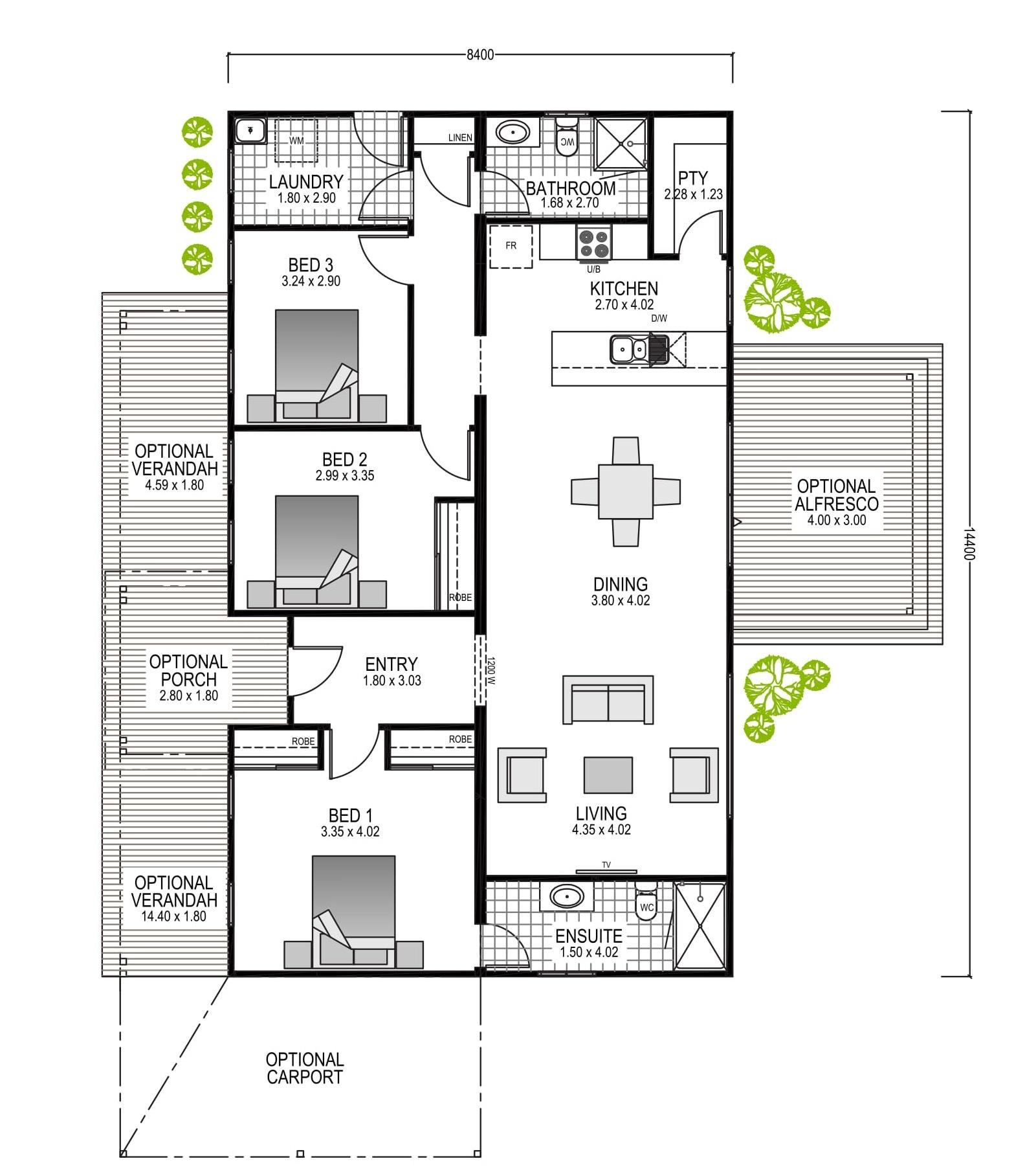 The Preston Blueprint and Floor Plan | Modular Homes Perth