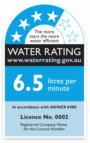 Water saving rating for showers and taps