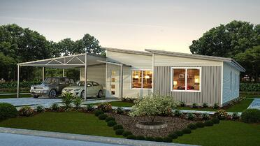 The Hamelin House Design with two cars parked in the driveway under the carport and a small garden and walkway | Modular Homes Western Australia