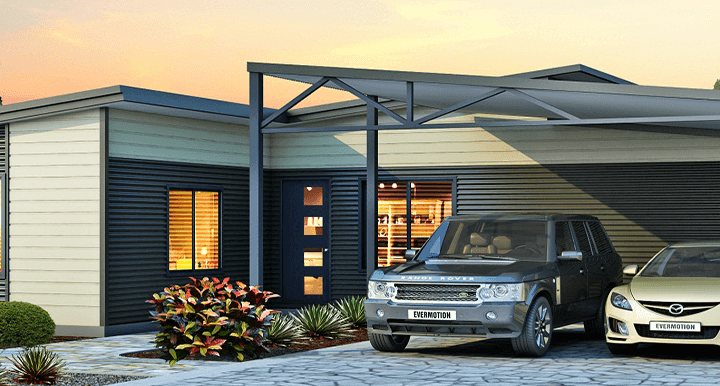 The Karana House Design with Double Car Spaced Driveway under Carport and a Walkway | Evoke Living Homes