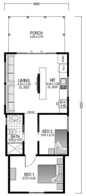 The Salt Box house plans with two bedrooms, living room and porch | Modular Homes WA