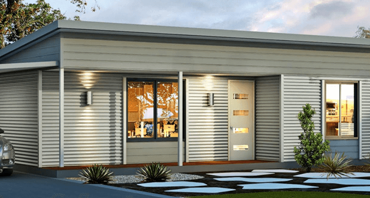 The Tuart House Design with a Front Porch and Carport in the Driveway | Evoke Home Living