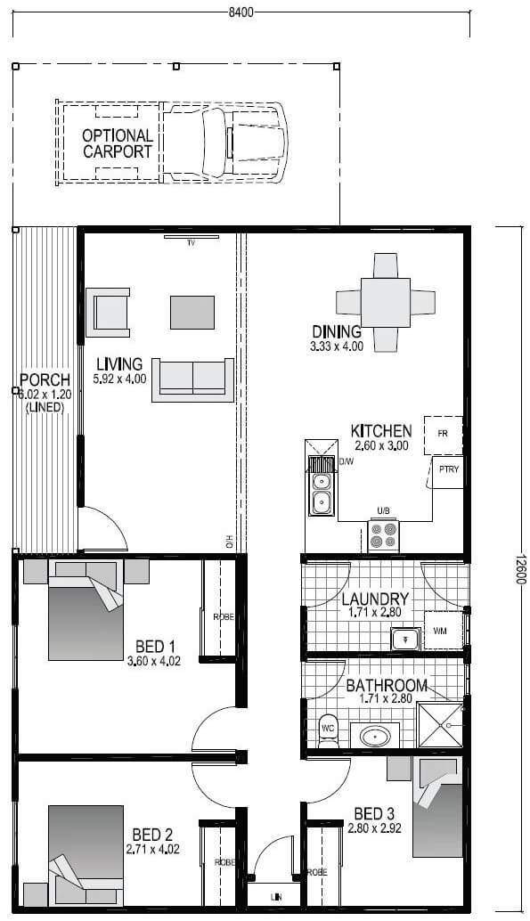 The Tuart Blueprint and Floor Plan | Transportable Homes Perth
