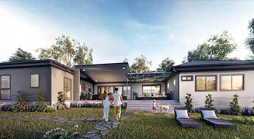 Belvoir Home Design with big front yard with green grass and father son holding hands | Transportable Homes WA