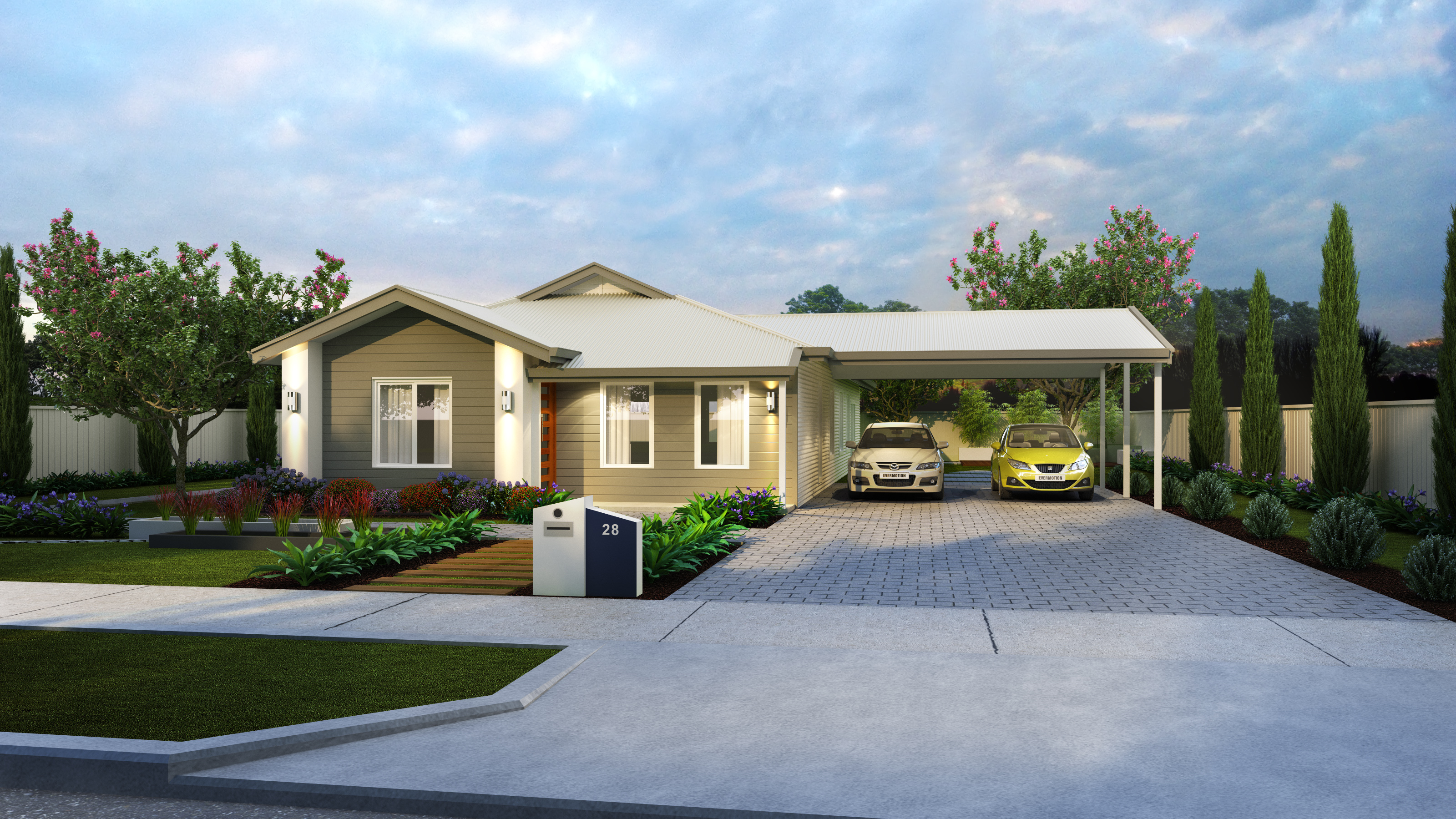 The Glades home design with two cars parked in the driveway under the carport and a large walkway and nice garden | Modular Homes WA